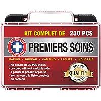 Stay Prepared 250 Pièces Trousse de Premiers Soins Ultra Complète Premium First Aid Kit pour Urgence en Milieu…