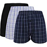 Men's 100% Cotton Plaid Woven Boxer Shorts with Button Fly Loose Fit Underwear Multiple Pack of 3