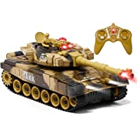 Zest 4 Toyz Big Size Remote Control Shooting Mode Army Tank with Rechargeable Batteries (Multi-Color)