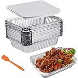 Barquettes Aluminium Barbecue Plateaux avec Couvercle 30 Pièces 1000ml Barquettes Jetables Parfait pour la Cuisson Grillage C