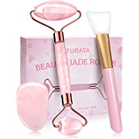 Jade Roller Rose Naturel, Rouleau de Jade Massage Visage Yeux Cou Anti-âge Pierre Jade Véritable, Kit Masseur Jade…