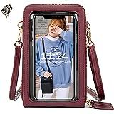 Handy Umhängetasche Damen, Touchscreen Tasche Crossbody Schultertasche Brieftasche Handtasche, 3 Reißverschluss Beutel mit Vi