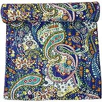 Kirti Textile and Handicraft Cotton Handmade Kantha Quilt Queen Size Paisley Print Bedspread Coverlet Gudari (Multicolour)