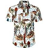 JOGAL Men's Beach Aloha Shirt Floral Casual Button Down Short Sleeve Hawaiian Shirt