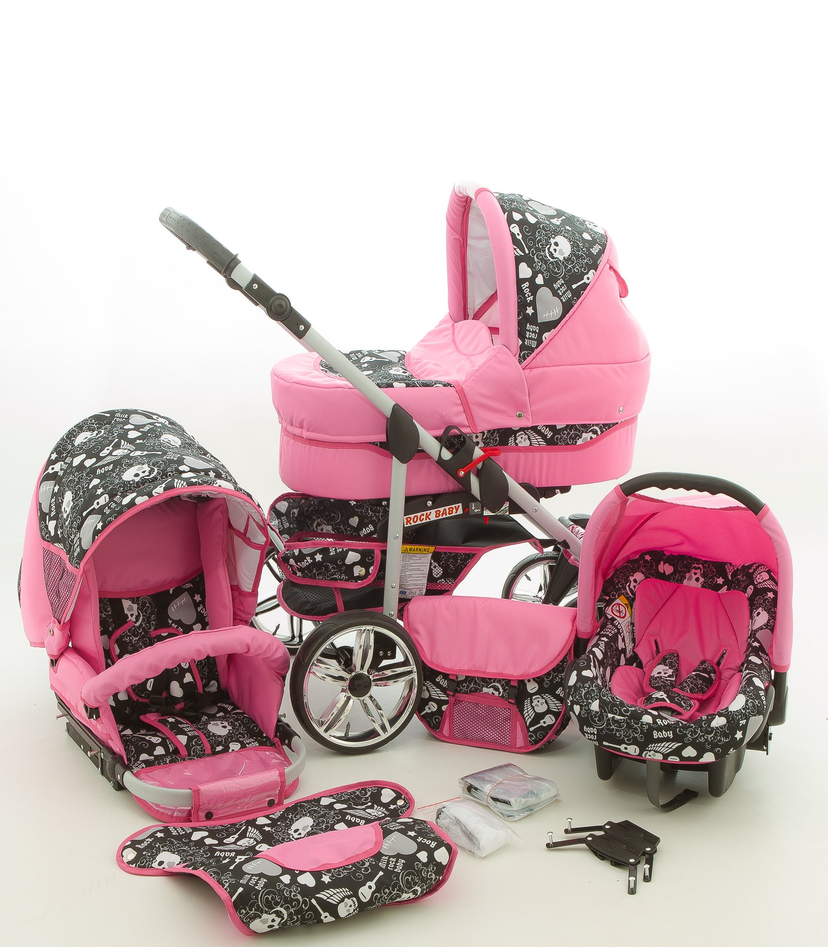 Milk Rock Baby Rock Baby Pram & Pushchair Travel System (car seat & adapter, raincover, mosquito net, swivel wheels) 04 pink & skull Milk Rock Baby Stroller with accessories all included 3 free items More information on www.youtube.com/Lux4Kids Sturdy steel construction, height-adjustable handlebars, adjustable hood hood, converts into a stroller and many pl Made in the EU (DIN EN1888/2005) 1