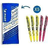 PILOT 5er Set Frixion Light Textmarker mit 3x Neongelb + 2x Neonpink, radierbar