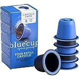 Bluecup 6 Cápsulas Recargables Compatibles con Nespresso Máquinas, Cápsulas Reutilizables Nespresso Cafeteras, Cápsulas Relle