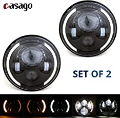 Casago CS7HH2P 7 Inch Round LED Headlight With Halo Angel Eye White DRL Amber Turn Signals Lamp for Jeep Wrangler Harley (70W)