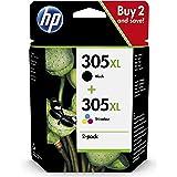 HP 305XL 6ZA94AE, Negro y Tricolor, Cartucho de Tinta de Alta Capacidad Original, compatible con impresoras de inyección de T