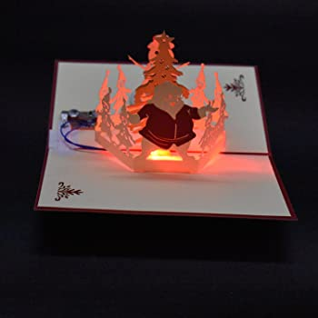 New 3D Pop Up Greeting Card Cooliya Hand Made Light Music Gift