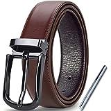 Lubardy Cintura Uomo Pelle Elegante Casual Formali,Cinture Uomo Pelle Regolabile Cinta con Perforatore e Confezione Regalo 32