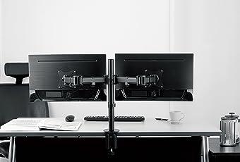 SAVONGA 2-Fach Monitor Halterung Dual Display STÄNDER Tischhalterung #205L mit Schwenkarme drehbar schwenkbar neigbar ROTIERBAR für 2 Zwei Monitoren, VESA 75 x 75 100 x 100