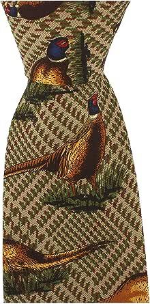 silk tie featuring pheasants