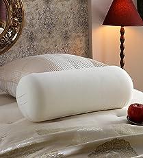 """JDX White Bed Pillow Bolster Having 1000 Grams Super Plush Reliance Gel-Fiber Filling Sized 23""""x9"""""""
