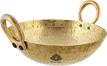 KESAR KUNJ Heavy Weight Brass Kadhai kadai (10 x 10 x 3.5 Inches, 1500 ML)