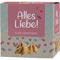 """Ni Hao """"Alles Liebe"""" Glückskekse in schöner 10er Box mit einzeln verpackten Keksen und verschiedenen Sprüchen - Made in…"""