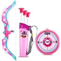Wishkey Sports Super Archery Bow and Arrow Toy Set with Light-Up Feature and Dart Target Board, 3 Suction Cup Tip Arrows…