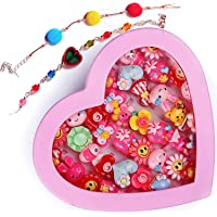 Ziggle kids girls cartoon fancy finger rings and Bracelet for birthday gifts comes in pink heart shape box .Suitable for…