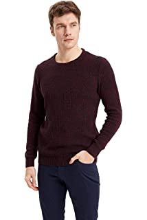maglione da uomo a maniche lunghe girocollo casual grigio L DeFacto bicolore