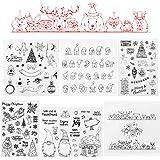 Kesote 6 Feuilles Noël Tampons Clairs Transparents Scrapbooking en Silicone PVC pour DIY Loisirs Créatifs Décoration Cadeau N