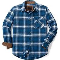CQR Camicia da uomo a maniche lunghe in flanella a quadri, comoda camicia in cotone