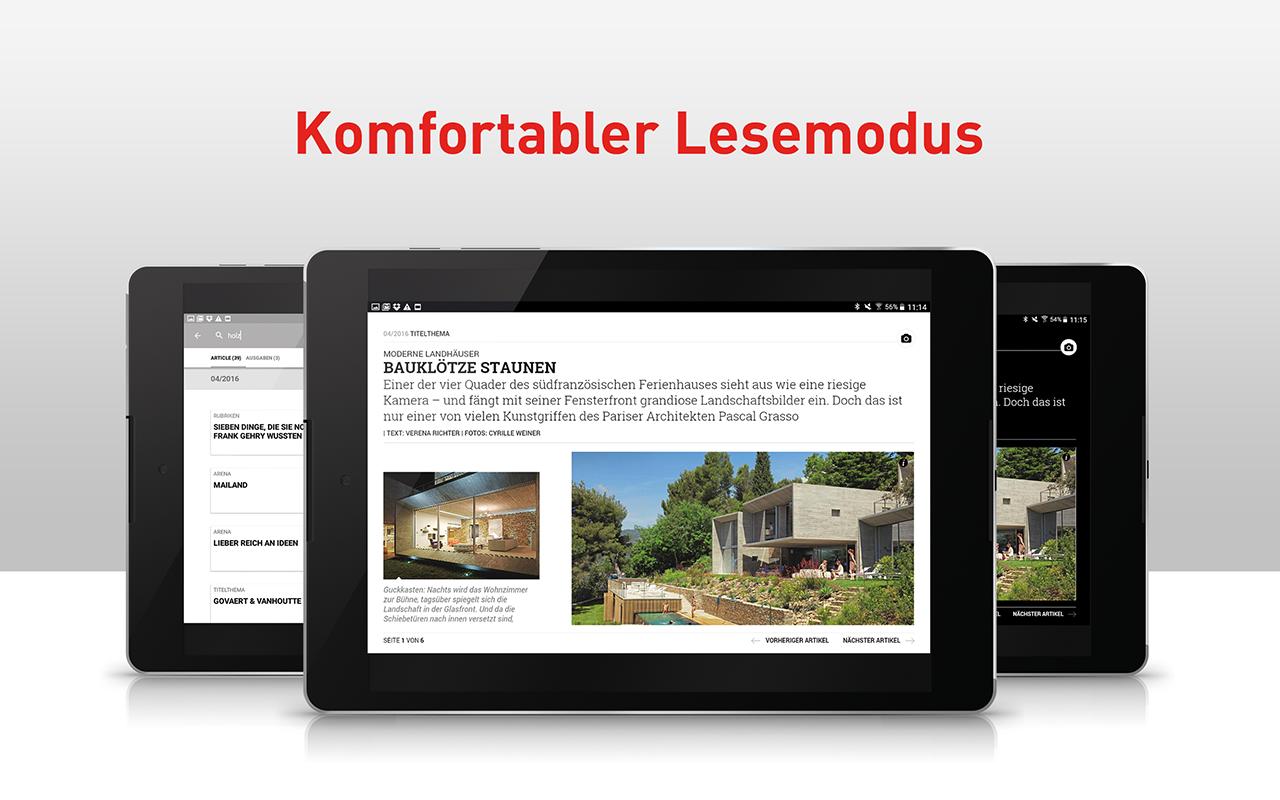 h user das magazin f r moderne architektur und design appstore pour android. Black Bedroom Furniture Sets. Home Design Ideas
