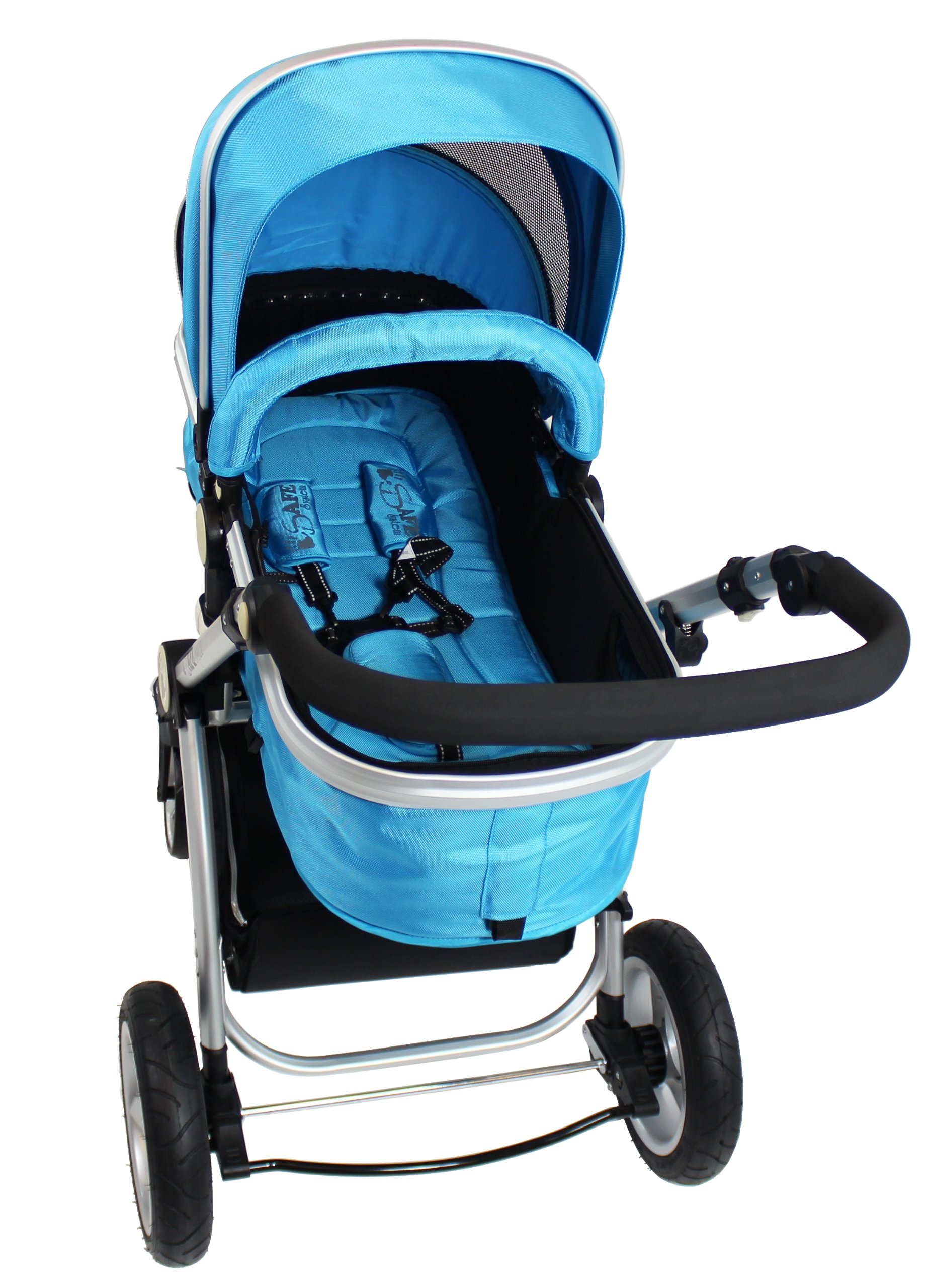 iSafe 2 in 1 Baby Pram System Complete (Ocean) iSafe We Are Proud To Present One Of The Finest 2in1 Stroller/Pram/Pramette/Travel System in the UK & Europe! 2 in 1 Stroller / Pram Extremely Easy Conversion To A Full Size Carrycot For Unrivalled Comfort. Complete With Boot Cover, Luxury Liner, 5 Point Harness, Raincover, Shopping Basket With Closed Ziped Top High Quality Rubber Inflatable Wheels With The Full All around Soft Suspension For That Perfect Unrivalled Ride 9