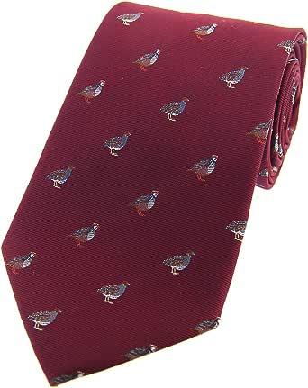 burgundy partridge pattern tie