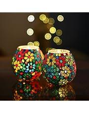 Homesake Moroccan Glass Mosaic Candle Holder, Tea Light Holder Votive, Set of 2