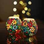 Homesake Moroccan Multicolor Flowers Glass Mosaic Candle Holder, Tea Light Holder Votive, Set of 2
