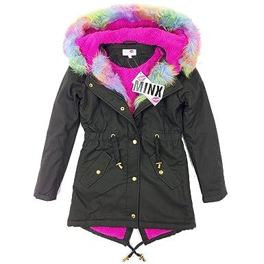 New Premium Quality Girls Parka Jackets Faux Fur Trim Hood Kids