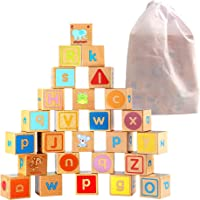 Toyshine 26 pc ABC Deluxe Wooden Blocks; Oversized Carved Baby Alphabet Letters, Counting & Building Block Set