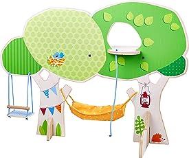 HABA 303886 - Little Friends – Baumhaus | Mit Schaukel, Hängematte, Stickleiter und Spielplattform | Tolle Ergänzung für die Little Friends-Spielwelt