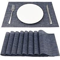 SueH Design Lot de 8 Sets de Table 45 * 30 CM Vinyle Tissé Bleu