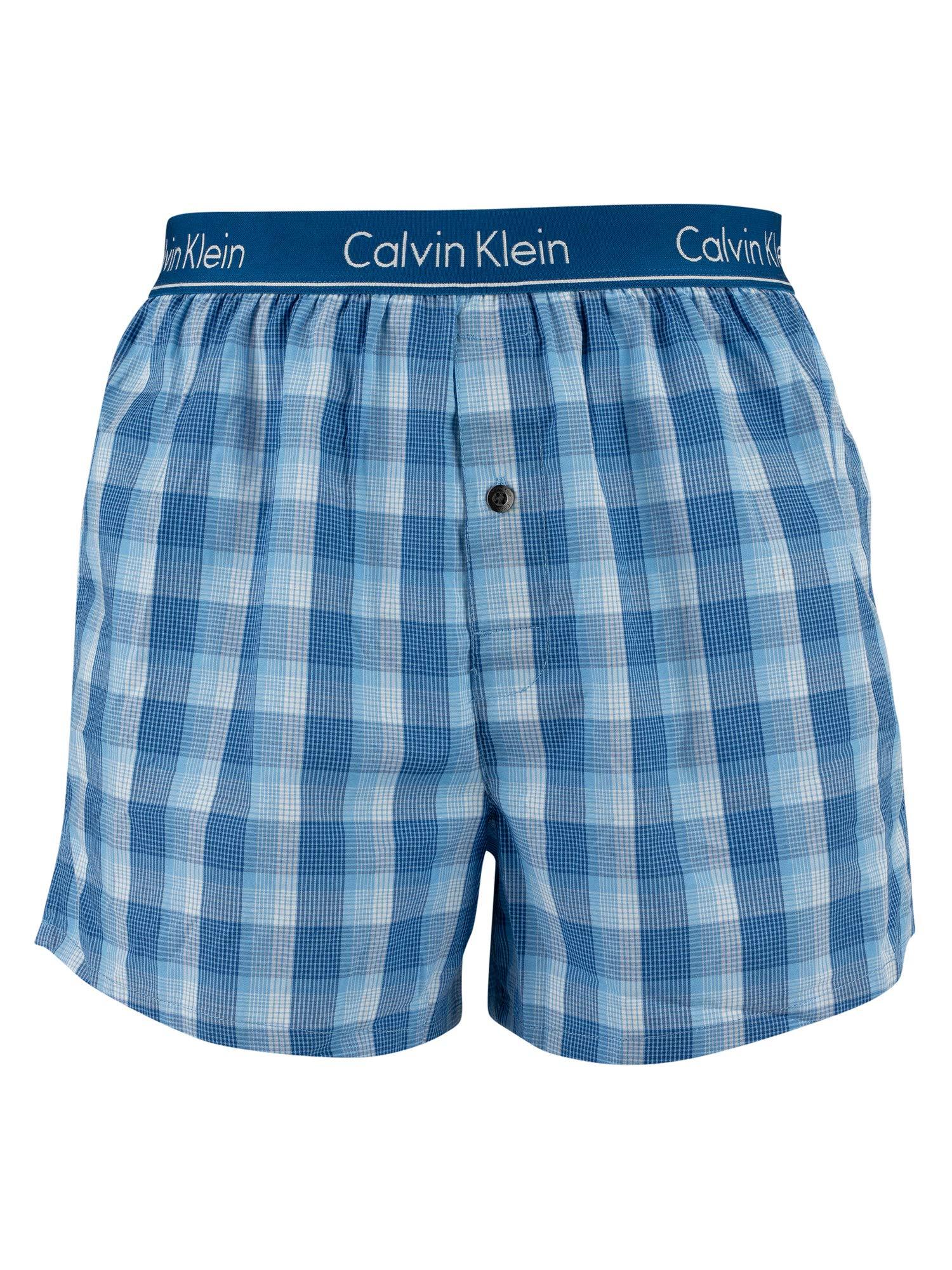 Calvin Klein Hombre Pack de 2 Boxeadores de Corte Slim de Talle bajo, Azul
