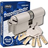 GERCAR Pro 80 mm cilinder profielcilinder 40/40 massieve dubbele cilinder cilinderslot deurslot - van messing vernikkeld - in