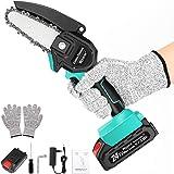 Wzone Mini-kettingzaag, elektrisch, 4 inch elektrische kettingzaagset met een accu van 24 V 2 Ah, handschoenen, een oplader v