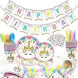 120 PCs Unicorn Party Supplies Kit Serves 16 Unicorn Birthday Party Supplies Happy Birthday Banner Cake Cutter Candles Goody