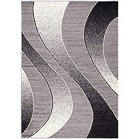 Carpeto Rugs Tapis Salon Gris 80 x 150 cm Moderne Vagues/Monaco Collection