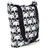 Limeskull Einkaufstasche Schultertasche Beutel Tragetasche - Motiv Totenkopf-Muster Skull Schädel - gefüttert