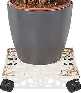 Esschert Design Großer Pflanzenroller XL 35 cm Landhausstil Gusseisen rund