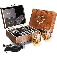 Baban Verres à Whisky Set - Amende Coffret Cadeau Bois, avec 2X Verres à Whisky, 8X Granit Pierres à Whisky, Sac en…