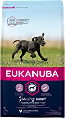 Eukanuba Puppy Trockenfutter für große Rassen – Qualitatives Welpen Futter mit verbesserter, Neuer Rezeptur für Hunde im Alter von 1-14 Monaten in der Geschmacksrichtung Huhn