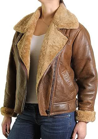 Brandslock Donne giacca in pelle di pecora di volo