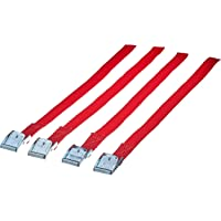 Cora 1068270 Set 4 Chinghietti Ricambio con Fibbia Metallica per Il fissagio delle Ruote ai portabici, Rosso, 38 cm, Set…