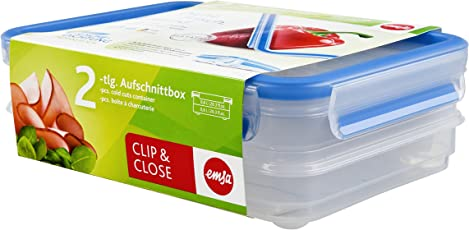 Emsa 513576 Aufschnittbox-System mit Deckel, 0.6 Liter, Transparent/Blau, Clip & Close