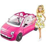 Barbie con su coche Fiat Muñeca rubia con vestido de moda y vehículo rosa de juguete, regalo para niñas y niños +3 años (Matt