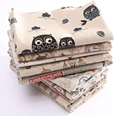 Generic 12 : 1 Piece Hot Sale Sewing DIY Cloth Multi Pattern Retro Printing Pattern Natural Cotton Linen Fabric Quilting Patchwork Optional 78X51CM