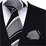 HISDERN uomini e dot cravatta a righe fazzoletto una festa di ballo Wedding Party Cravatta & fazzoletto set