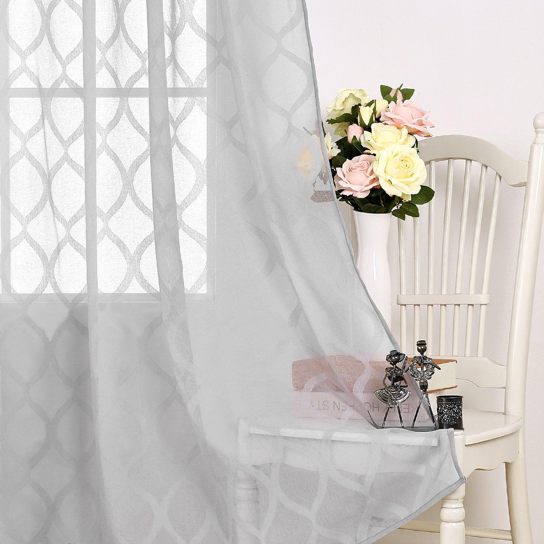 Deconovo Tende Camera da Letto Trasparenti in Voile Tende a Pannello  Moderne per la Casa 140x240cm 2 Pannelli Grigio | CasaMe